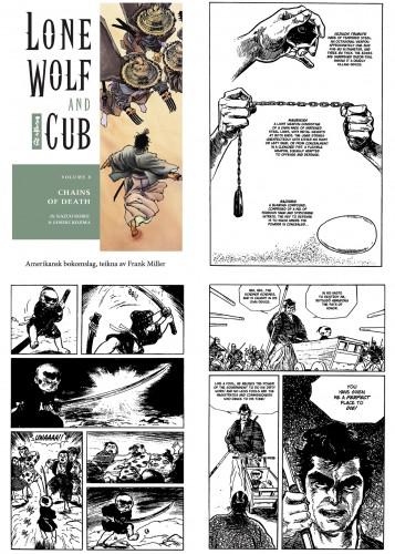 Her kan du sjå tre forskjellige striper av den 8700 sider lange mangaserien Lone Wolf