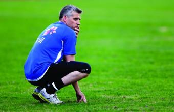 Landslagssjef Tor Ole Skullerud på U21-landslagets trening på Bislet stadion fredag.